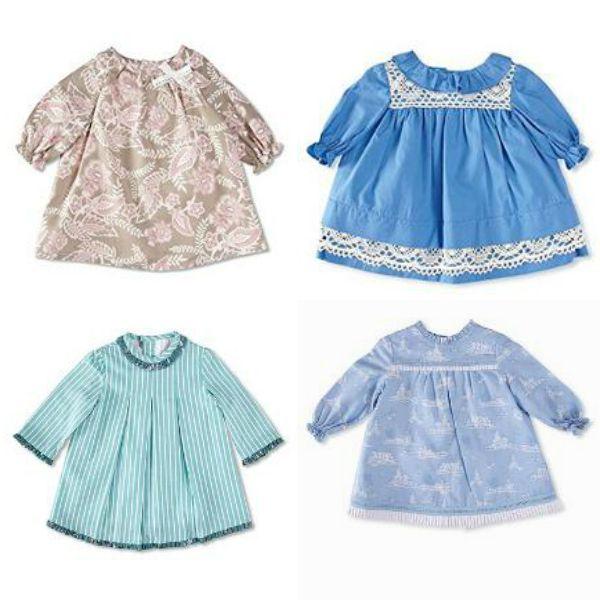 Vestidos de manga francesa para niñas hasta dos años
