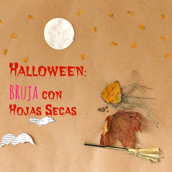 Bruja para Halloween con hojas secas